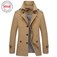 Wholesale Mens Slim Fit Pea Coats - Wholesale- Brand classic Fashion Casual Business Men's Trench coat England England Single-breasted long pea coat trenchcoat Mens slim fit
