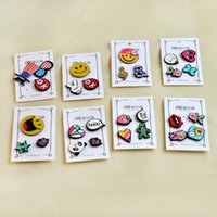 Wholesale Panda Pins - 3-4 pcs set Creative Cartoon Panda Heart Music Note Smile Popcorn Strawberry Cactus Brooch Set Lapel Pin Badge