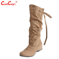 Wholesale Leather Ladies Riding Boots - Wholesale- women flat over knee boots ladies riding fashion long snow boot warm winter brand botas footwear shoes P16072 EUR size 34-43