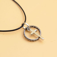 Wholesale Steel Lettering - Fashion Simple Man's Titanium steel Pendant lettering Bible Cross Leather cord Necklace for Man Charm Jewelry