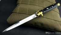 Wholesale Ox Bone Knife - Italy AKC 11 inch black ox bone handle bayonet blade pocket folding knife camping knife gift knife for man 1pcs freeshipping