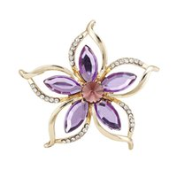Wholesale Vintage Bride Pin - Wholesale- Fashion New Bouquet Brooch Vintage Purple Flower Rhinestone Jewelry Bride Brooch Pins for Women Wedding Brooch Free Shipping