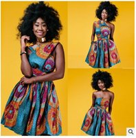 Wholesale Empire Strapless Knee Length - Dashiki Africa Bazin Riche Wax Print Dresses Sexy Summer Off Shoulder African Print Clothing For Women Back Cross Ankara Dress Vestidos