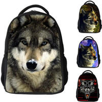 ingrosso sacchetto di cartone 3d-New 3D Animal Wolf Dinosaur Backpack Kindergarten Boys School Bag Bookbags Satchel Viaggi Borse a spalla Zaini a spalla