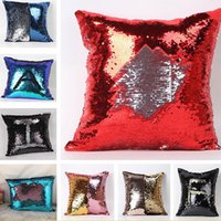 Wholesale Beads Pillows Wholesale - Sequin Pillow Case Cover For Double Side New Square Bead Soft Car Cushion Home Decor Case Cover Xmas Gifts 9 Colors 40*40cm HH-P08