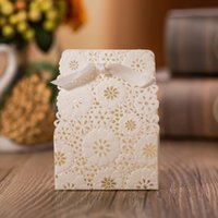 Wholesale Paper Bags For Sweets - 100pcs lot Red Laser Cut Lace Flora Wedding Decoration Candy Boxes Bride Favor Gifts for Guests Sweet Bags with Ribbon Bow