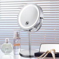 Wholesale Mirror Free Standing - 6 Inch 5x Magnification Cosmetic Makeup Mirror Round Shape 2Sided Rotating Magnifier Mirror Magnifying Stand Mirror for Make up Free Shippin