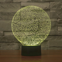 No space vision - vision amazing Circle numbers optical illusion Peristaltic Distorted Space D effect touch keys home decoration LED Table Lamp Night Light