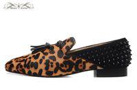Wholesale Men Leopard Print Loafers - MBL998D Size 36-46 Men Women Leopard Print Leather Genuine Horsehar Black Suede With Spikes Square Toe Fashion Loafers,Gentleman Dress Shoes