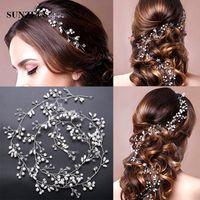 Wholesale New Trendy Ornaments - 1M Crystal Pearls Hair Accessories 2017 New Bridal Hair Sash Beautiful Silver Wedding Hair Ornaments Bijoux Cheveux Mariage Head Chain