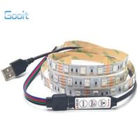 dekoratif şeritler toptan satış-Toptan Satış - Toptan-USB 5V Şerit 5050 3528 Bant DC5V TV Arkaplan Aydınlatma DIY Dekoratif Lamba RGB / Sıcak Beyaz / Beyaz