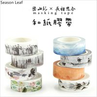 Wholesale Poetry Paintings - Wholesale- 2016 Classic Poetry Landscape Painting Flower Plants Washi Tape Adhesive Tape DIY Scrapbooking Sticker Label Masking Tape Stati