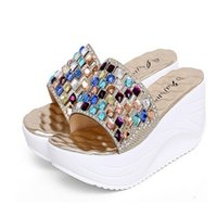 Wholesale Leather Comfort Straps - New 2016 Summer Women Rhinestone Sandals Muffin bottom Comfort Massage Inside Gold Silver Women Sandals Woman Wedges Slippers