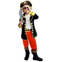 1, Pirate Captain Jack Costume Cosplay Bambini Halloween Party Cosplay Abbigliamento Top + Vest + Stivali + Cappello + Blinder + Belt5 Set Costume 18