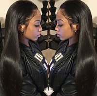 Wholesale Indian Ladies Hair Wigs - Brazilian straight full lace wig with natural hairline baby hair 130% density lace front human hair wigs for black women FDSHINE HAIR