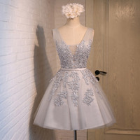 Wholesale Mini Quinceanera Dresses - Beaded Silver A Line V Neck Embroidered Lace Short Homecoming Bridesmaid Dress 2017 Cocktail Party Skirt Sleeveless Pageant Prom Gown Sexy