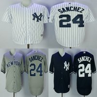 Wholesale Gary Mix - Men New York Yankees 24 Gary Sanchez white grey blue baseball jerseys adult size mix order free shipping