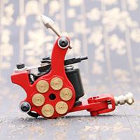 Wholesale Bullet Tattoo Machine Gun - Professional Brand New Handmade Tattoo Gun Wrap Coil Red Tattoo Machine Liner Bullet Type Art Supply TM2382