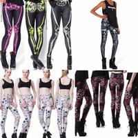 Wholesale punk gothic leggings - halloween 3D printed fitness leggings girls women gothic retro red Rose Skull skeleton punk rock pants Print Leggings KKA2872