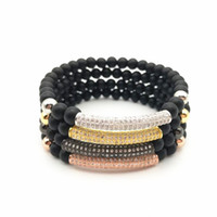 Wholesale Bead Mats - 2017 New DIY Charm Bracelet with 6mm Round Mat Black Beads and CZ For Men 2pcs a lot Free Shiping
