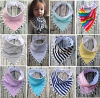 Wholesale newborn bibs for boys - 13 Styles INS Baby Bibs 100%Cotton Tassel Bibs Infant Rainbow Striped Printing Towel Baberos For Newborn Baby Girls Boys bibs