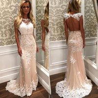 Wholesale Hote Sexy Dress - 2017 Hote Sales Sleeveless Cheap Prom Dresses Lace Applique Sheer Neck Cocktail Dress Backless Sweep Train South African Evening Gowns