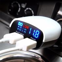 Wholesale Diagnostic Leads - Dual USB Universal Car Charger 5V 3.4A Car Voltage Diagnostic LED Screen Car-Charger 2.4A+1A Car Charger For Mobile Phone