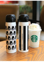 Wholesale Head Hand Warmers - Starbucks Alice Olivia Insulated cup Lady head & stripes black white Stainless Steel Vacuum Mug Accompanying cup gift for girls