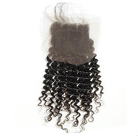 Wholesale Deep Curl Lace Closure - Virgin brazilian hair deep natural curl invisible free part closure,full lace size 4x4in,swiss lace,bleached knots,free shipping