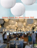 Wholesale Ballon Led Lights - 16 Inch 40cm White Paper Lanterns Chinese Paper Ball Led Lampion For Wedding Party Event Birthday Ceremony Decoration