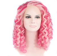 Wholesale Queen Small - pink hair drag queen short kinky curly wigs synthetic lace front wig heat resistant wig for women free shipping