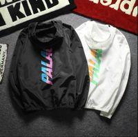 Wholesale Trench Coat Hip Hop - Palace Stripe Font Windbreaker Hoodies Jackets Men Hip Hop Skateboards Outerwear Trench Coat Palace Triangle Windproof Raincoat
