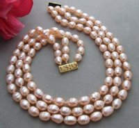 Wholesale Plastic Gold Rope Necklace - charming 11-13MM natural south sea gold pink pearl necklace 17-19 inch yellow cl