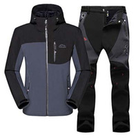 Wholesale Athletic Jacket Pants - Man Winter Waterproof Trekking Fishing Camping Hiking Fleece SoftShell Outdoor Jacket Pant Sports Jacket+Trousers Clothes Athletic