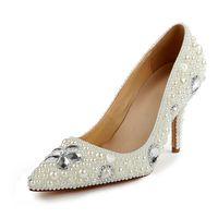 bombas de tacón de marfil al por mayor-Office Lady Zapatos de tacón alto Punta estrecha 3
