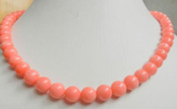 Wholesale Genuine Red Coral Beads - New Genuine 8mm South Sea Coral Round Beads Necklace 18inch