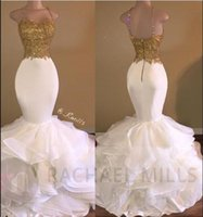 Wholesale Ruffle Skirt Evening Gown - 2017 Sexy Gold White Ruffles Lace Mermaid Prom Dresses Spaghetti Straps Sleeveless with Beads Silk Satin Skirt Red Carpet Evening Gowns