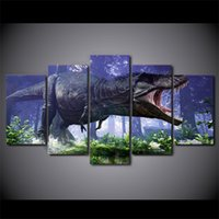 More Panel Digital printing Impressionist 5 Pcs Set Framed HD Printed Park Big Dinosaurs Modern Wall Pictures Home Wall Decor Poster Canvas Painting Ready To Hang