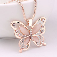 Wholesale White Rose Sweater - Hot Korean 18K rose gold plated Sweater Chain Pendant Necklace Lucky Crystal Butterfly Long chain Necklace Animal Pendant Necklace Jewelry