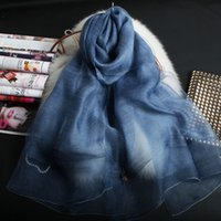 Wholesale Thin Wool Scarves - 190cm*70cm silk and wool double layer scarf long scarf thin and soft