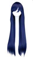 peruca azul laranja venda por atacado-Longo Em Linha Reta Cosplay Peruca Preto Roxo Rosa Azul Sliver Cinza Loira Branco Laranja Marrom 80 Cm Perucas de Cabelo Sintético