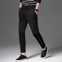 Wholesale Wholesale Pants For Men - Wholesale- Mens joggers male pants casual slim feet solid color trousers harem sweatpants for men binding foot zipper pants Plus Size 5XL