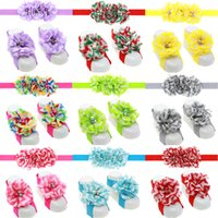 Wholesale Headbands Matching Shoes - Fashion Baby Accessories Infant Kids Headbands and Foot Flower Matching Set Baby Girls Sandals Barefoot Sandals Baby Shoes Toddler Shoes