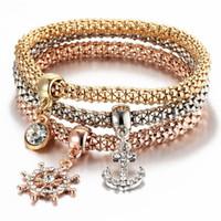 Wholesale Skull Bracelets Rose - 3pcs Set Butterfly Anchor Note Crown Skull Key Lock Love Heart Charm Bangle Bracelet Rose Gold Gold Silver Color Popcorn Bracelet Jewelry
