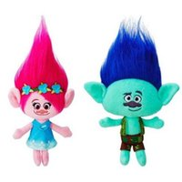 Wholesale Toy Trolls - 23cm Hot New Movie Trolls Plush Toy Poppy Branch Dream Works Stuffed Cartoon Dolls The Good Luck Trolls Christmas Gifts