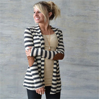 Wholesale Elbow Patches Sweater Woman - Wholesale-Black and White Striped Elbow Patching PU Leather Long Sleeve Knitted Cardigan Slim Loose Sweater Outwear XY3045