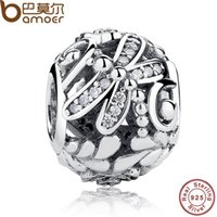 Atacado Pandora Original 925 Sterling Silver Dragonfly Meadow Flowers Clear CZ Ball Charm Fit Pulseira Colar DIY Jóias