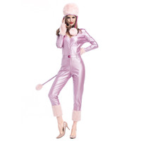 Wholesale Sexy Christmas Lady Outfits - Sexy Costumes Siamese Cat Lady A Snowman Pink In Winter Patent Leather Outfit Studio Shooting Clothing