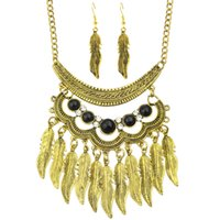 Wholesale Indian Choker Necklace Set - Indian Jewelry Sets Ethnic Style Antique Gold-Color and Silver Color Leaf Blue Stone Choker Necklace and Drop Earrings