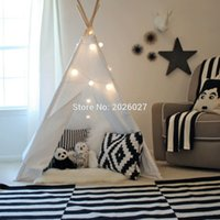 Wholesale Children Pole - Wholesale-Love Tree Four Poles Children Teepees Kids Play Tent Cotton Canvas Teepee White Playhouse for Baby Room Tipi